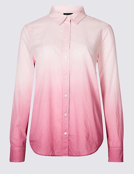 PETITE Pure Cotton Ombre Long Sleeve Shirt