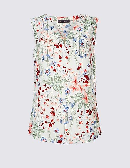 Floral Print V-Neck Shell Top