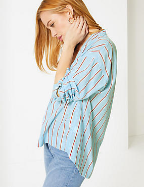PETITE Pure Cotton Striped Blouse