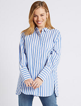 PETITE Pure Cotton Striped Long Sleeve Shirt