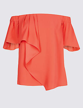 Ruffle Short Sleeve Bardot Top
