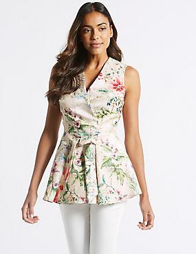 Floral Print Tie Waist V-Neck Shell Top