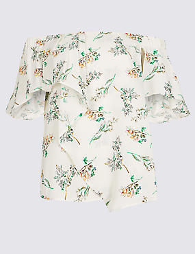 Floral Print Short Sleeve Bardot Top
