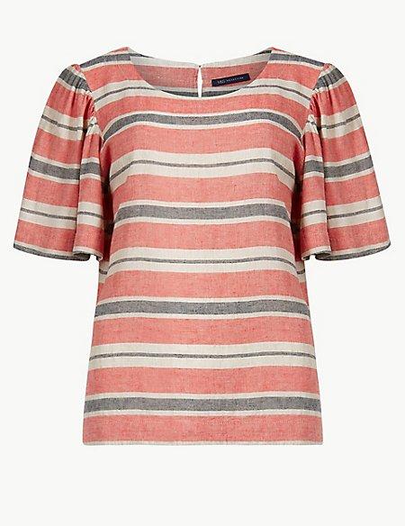 Linen Rich Striped Short Sleeve Blouse