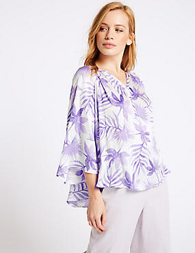 PETITE Printed Satin Long Sleeve Blouse
