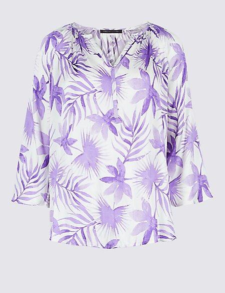 Printed Satin V-Neck 3/4 Sleeve Blouse