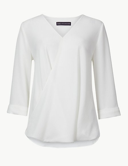 Maternity V-Neck 3/4 Sleeve Blouse