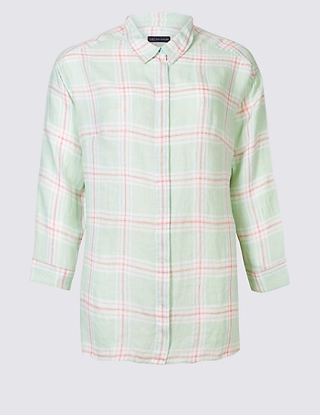 CURVE Pure Linen Checked Long Sleeve Shirt