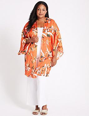 CURVE Floral Print 3/4 Sleeve Kimono Top