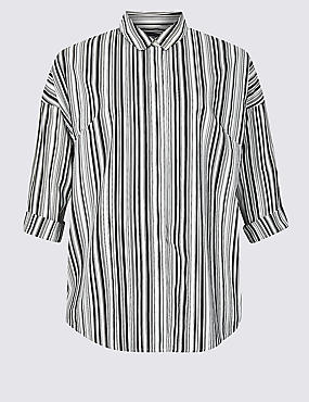 CURVE Cotton Rich Striped Long Sleeve Shirt