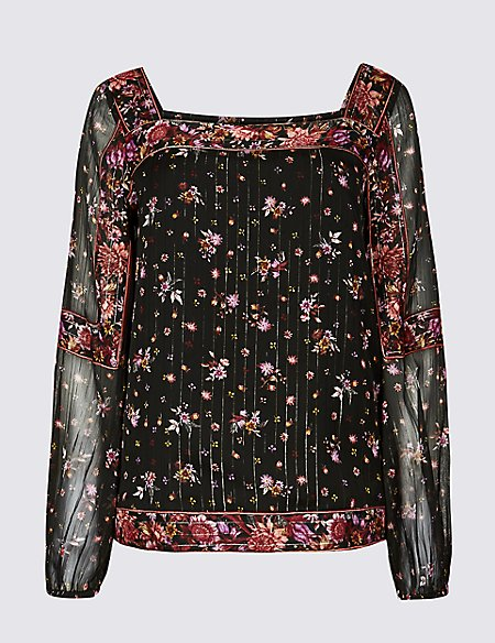 Floral Print Square Neck Puff Sleeve Blouse
