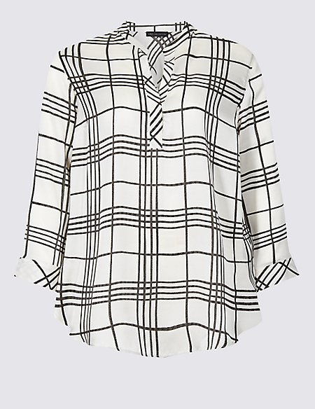 CURVE Checked Long Sleeve Blouse