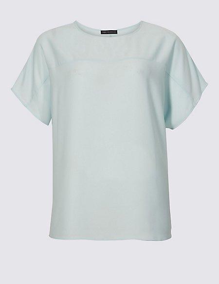 CURVE Slash Neck Short Sleeve Blouse