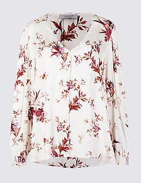 Printed V-Neck Long Sleeve Blouse