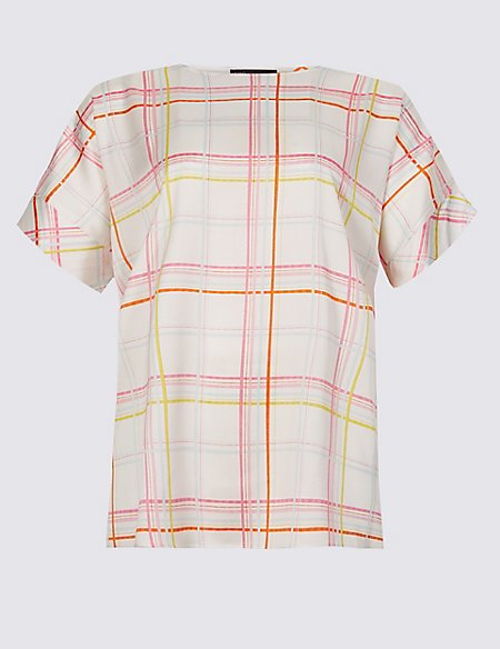 CURVE Checked Short Sleeve Blouse