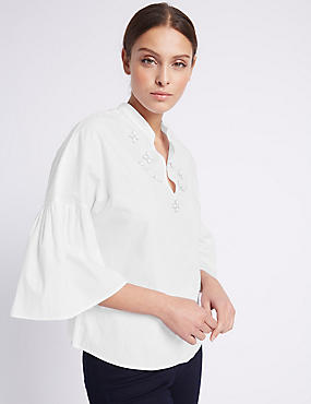 Pure Cotton Embellished Flare Sleeve Blouse