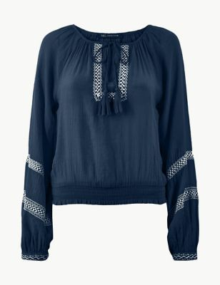 Embroidered Round Neck Long Sleeve Blouse £29.50 49298df270