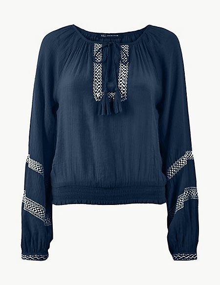 Embroidered Round Neck Long Sleeve Blouse
