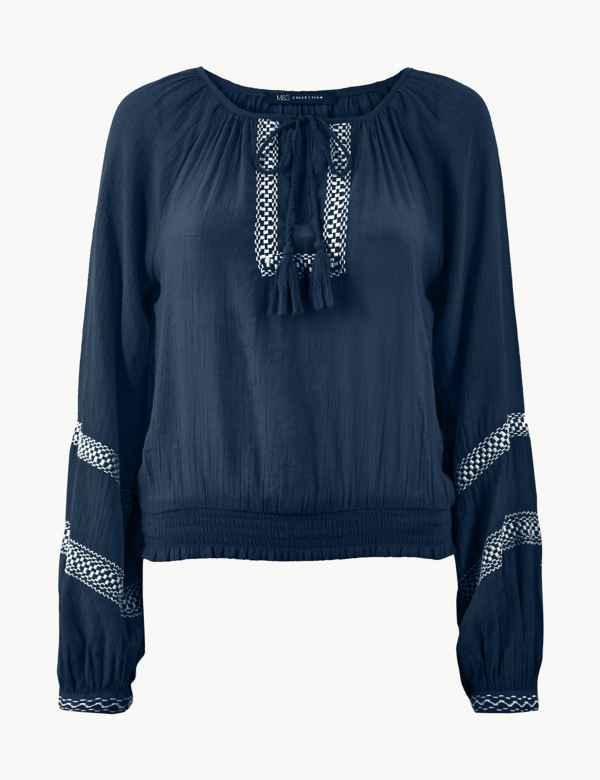 65824b4b3ffa3d Embroidered Round Neck Long Sleeve Blouse. M S Collection