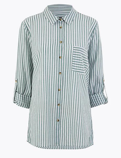 CURVE Pure Cotton Striped Shirt
