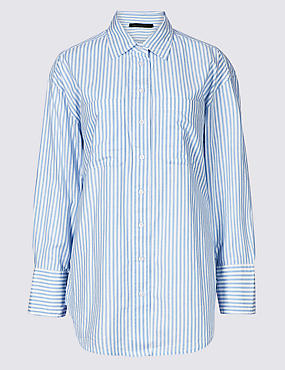 Pure Cotton Oversized Striped Shirt