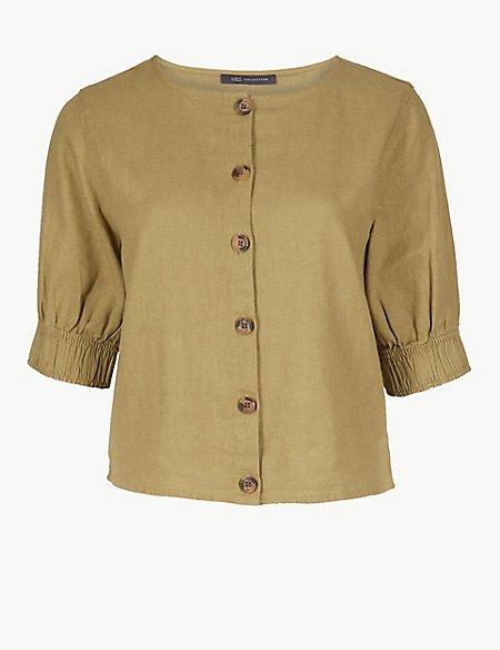 Linen Rich Button Detailed Shirt