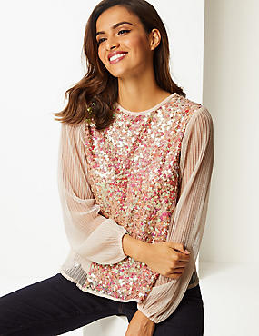 Embellished Round Neck Long Sleeve Blouse