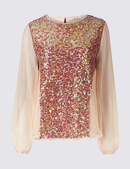 Embellished Round Neck Long Sleeve Blouse