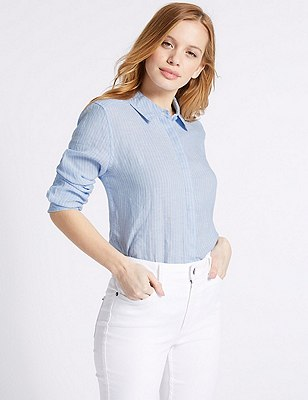 PETITE Pure Linen Striped Long Sleeve Shirt