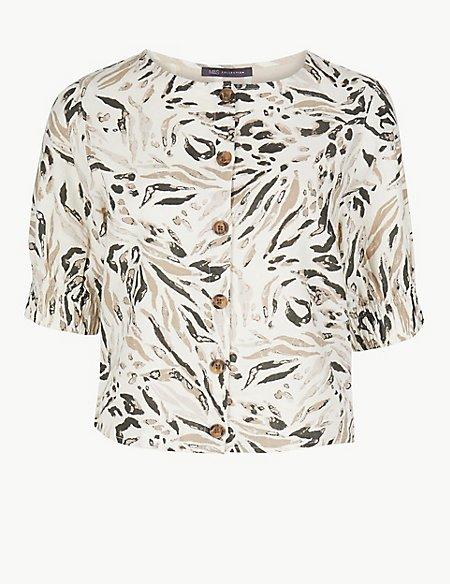 Animal Print Round Neck Short Sleeve Blouse