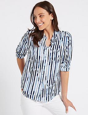 Pure Modal Striped Long Sleeve Shirt