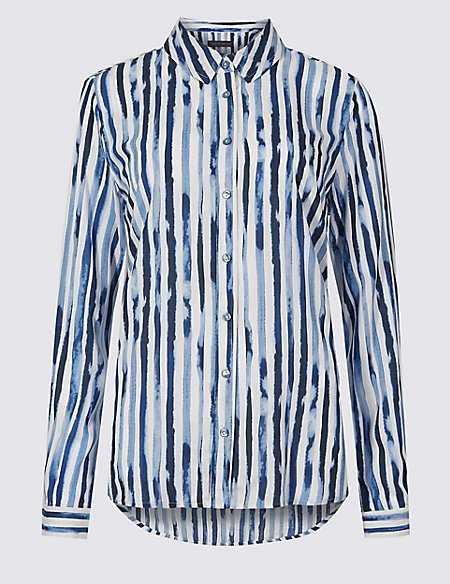 Pure Modal Striped Long Sleeve Shirt