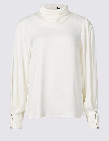 Cowl Neck Long Sleeve Blouse