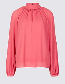 Funnel Neck Long Sleeve Blouse