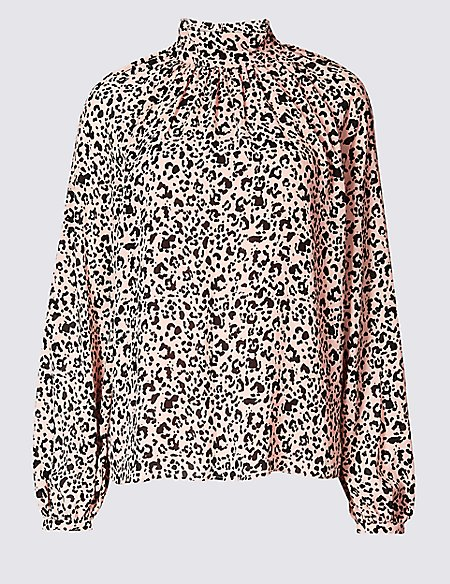 Printed Funnel Neck Long Sleeve Blouse