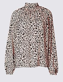 Animal Print Funnel Neck Long Sleeve Blouse