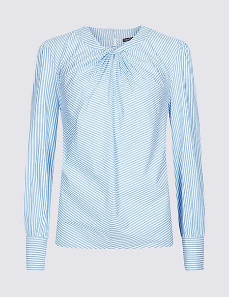 Pure Cotton Striped Twist Front Blouse