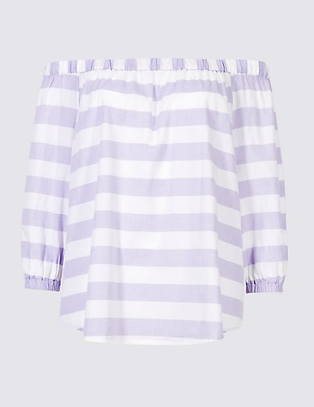 Pure Cotton Striped 3/4 Sleeve Bardot Top