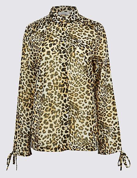 607f4b7462384 Product images. Skip Carousel. Animal Print Ruffle Long Sleeve Shirt