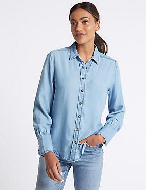 Denim Tencel Long Sleeve Shirt