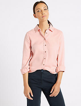 Washed Tencel Long Sleeve Shirt