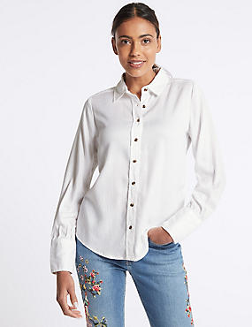 Washed Tencel Long Sleeve Shirt
