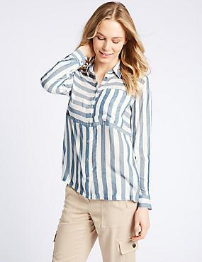 Modal Blend Striped 3/4 Sleeve Shirt