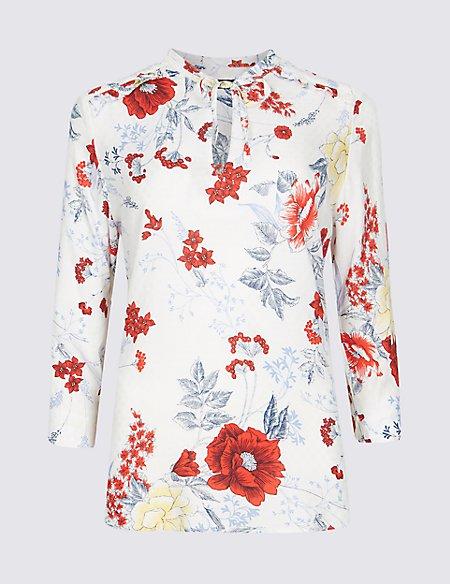 Floral Print Notch Neck 3/4 Sleeve Blouse