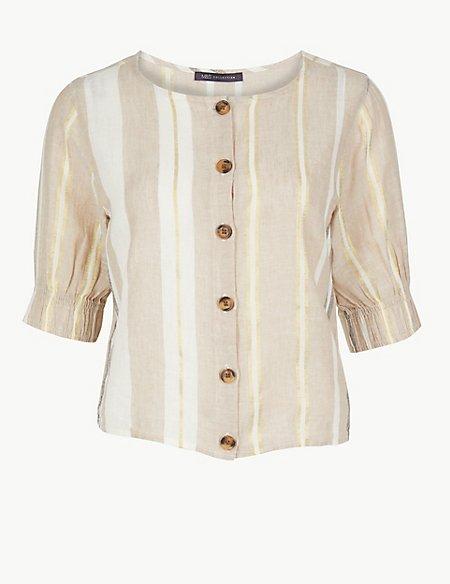 Striped Round Neck Short Sleeve Blouse