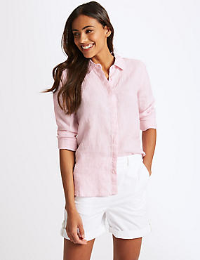 Long Sleeve Linen Shirts Blouses M S