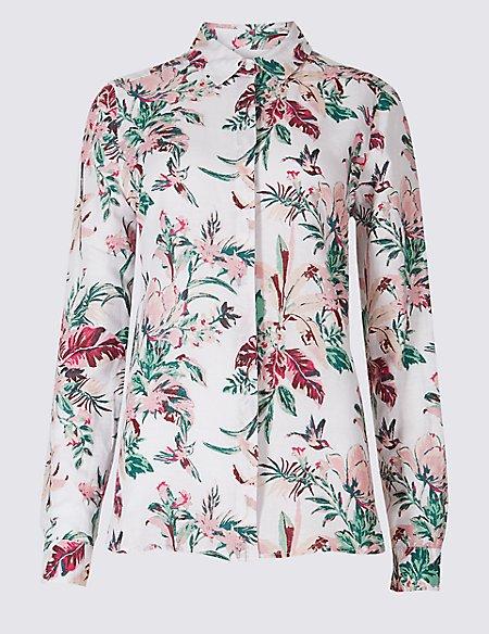 Linen Rich Floral Print Shirt