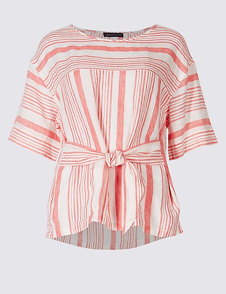 Pure Linen Striped Tie Front Blouse