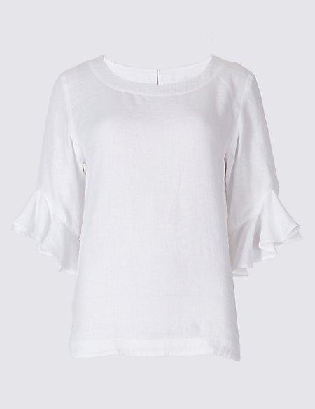 Pure Linen Ruffle Sleeve Blouse