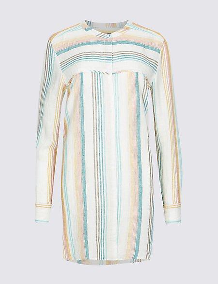 Pure Linen Loose Fit Striped Long Line Shirt